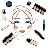 Cosmetics set sketch vector set makeup royalty free stock photo