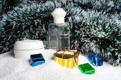 Cosmetics set on snow. Royalty Free Stock Photos