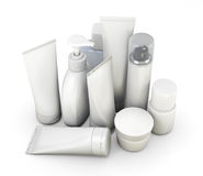 Cosmetics set on a white. Cosmetics set, templates of bottles on a white background. 3d illustration Royalty Free Stock Photos