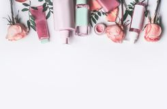 Free Cosmetics Set With Rose Essential Oils: Toner,serum, Essence,moisturizer And And Others On White Stock Photos - 113926403