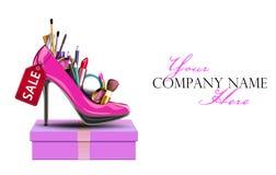 Cosmetics set into a woman's shoe Royalty Free Stock Photo