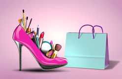 Cosmetics set into a womans shoe with gift bag. Fashion illustration of a cosmetics set into a womans shoe. Concept for shopping, gift for women, valentines day Stock Photography