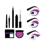 Cosmetics. shadow. powder. mascara. eyeliner. eye makeup. Royalty Free Stock Photo