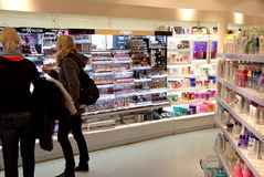Cosmetics shop. Internal view of a cosmetics shop in the city of Offenburg, Germany Stock Photography