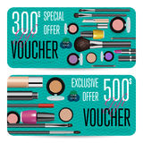 Cosmetics Shop Grand Opening Prepaid Gift Coupon. Cosmetics gift voucher template. Gift coupon with fashion makeup accessories and prepaid sum. Makeup brush Stock Photo