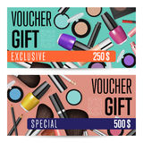 Cosmetics Shop Grand Opening Prepaid Gift Coupon. Cosmetics gift voucher template. Gift coupon with fashion makeup accessories and prepaid sum. Makeup brush Royalty Free Stock Photos