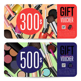 Cosmetics Shop Grand Opening Prepaid Gift Coupon. Cosmetics gift voucher template. Gift coupon with fashion makeup accessories and prepaid sum. Makeup brush Royalty Free Stock Image