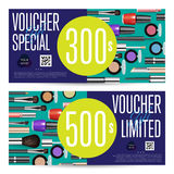 Cosmetics Shop Grand Opening Prepaid Gift Coupon. Cosmetics gift voucher template. Gift coupon with fashion makeup accessories and prepaid sum. Makeup brush Royalty Free Stock Images