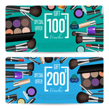 Cosmetics Shop Grand Opening Prepaid Gift Coupon. Cosmetics gift voucher template. Gift coupon with fashion makeup accessories and prepaid sum. Makeup brush Royalty Free Stock Photo