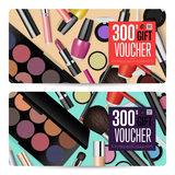 Cosmetics Shop Grand Opening Prepaid Gift Coupon. Cosmetics gift voucher template. Gift coupon with fashion makeup accessories and prepaid sum. Makeup brush Stock Photography