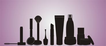 Cosmetics-silhouette. A range of cosmetic and health care products.Each container can be used separately and can be easily edited Stock Photo