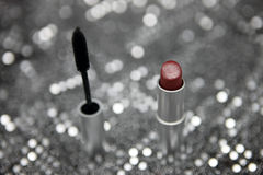 Cosmetics with Silver metallic display Stock Images