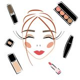 Cosmetics sketch vector set makeup woman face royalty free stock photography