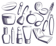 Cosmetics sketches Royalty Free Stock Images
