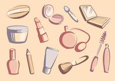 Cosmetics sketches Stock Image