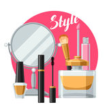 Cosmetics for skincare and makeup. Background for catalog or advertising.  Stock Photography