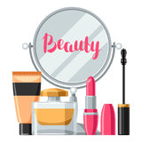 Cosmetics for skincare and makeup. Background for catalog or advertising.  Royalty Free Stock Image