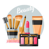 Cosmetics for skincare and makeup. Background for catalog or advertising.  Stock Image
