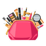 Cosmetics for skincare and makeup in bag. Background for catalog or advertising.  vector illustration