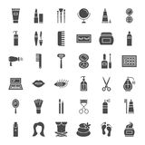 Cosmetics Solid Web Icons. Vector Set of Beauty Glyphs Royalty Free Stock Photo