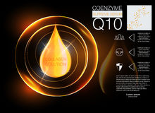 Cosmetics solution.  Supreme collagen oil drop essence with DNA helix. Royalty Free Stock Images