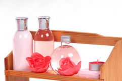Cosmetics and SPA bottles standing on a shelf Royalty Free Stock Photography