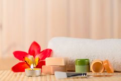 Cosmetics for spa in a romantic setting Royalty Free Stock Images