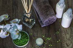 Cosmetics and spa. Toiletries for care of body Stock Image