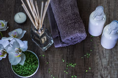Cosmetics and spa. Toiletries for care of body Royalty Free Stock Images