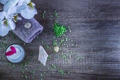Cosmetics and spa. Toiletries for care of body Stock Photo