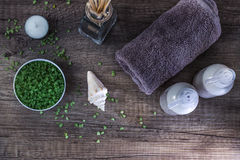 Cosmetics and spa. Toiletries for care of body Stock Photos