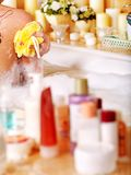 Cosmetics still life at home bath. Royalty Free Stock Photos
