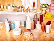 Cosmetics still life at home bath. Stock Photos