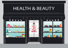 Cosmetics store building and interior with products on shelves. Royalty Free Stock Photo