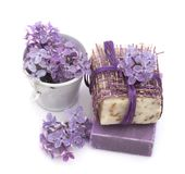 Cosmetic product with lilac flowers, fresh as spring concept Royalty Free Stock Images