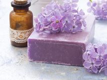 Cosmetic product with lilac flowers, fresh as spring concept Stock Photo