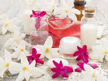 Natural cosmetics, fresh as spring flowers. With cosmetics on the table with decoration, beauty concept stock image