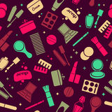 Cosmetics and toiletry icons seamless pattern. Royalty Free Stock Photos