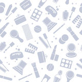 Cosmetics and toiletry icons seamless pattern. Royalty Free Stock Images