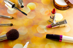 Cosmetics. Top view of a bright background Royalty Free Stock Photos