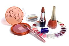 Cosmetics. Various facilities for decorative makeup isolated white background. Stock Photography