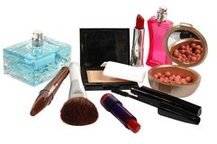 Cosmetics. Various facilities for decorative makeup isolated white background. Stock Photos