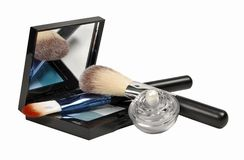 Cosmetics. Various facilities for decorative makeup isolated white background. Royalty Free Stock Photo