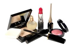 Cosmetics. Various facilities for decorative makeup isolated white background. Royalty Free Stock Photography
