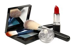 Cosmetics. Various facilities for decorative makeup isolated white background. Royalty Free Stock Image
