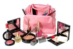 Cosmetics. Various facilities for decorative makeup isolated white background. Royalty Free Stock Images