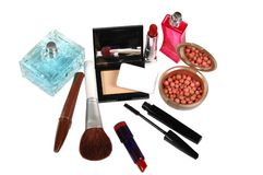 Cosmetics. Various facilities for decorative makeup isolated white background. Stock Image