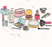 Cosmetics. Vector hand drawn illustration with hand drawn cosmetics royalty free illustration