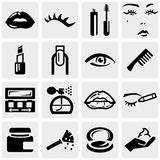Cosmetics vector icons set on gray. Royalty Free Stock Photos