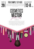 Cosmetics Vector Promo Flyer with Date and Time. Cosmetics product presentation poster. Makeup accessories set. Cosmetics promotion flyer with date and time Stock Photo